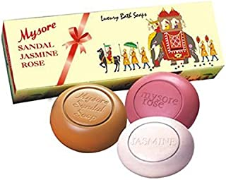 Mysore+Sandal Jasmine and Rose Bath Soaps (5 oz Each) -Box of 3