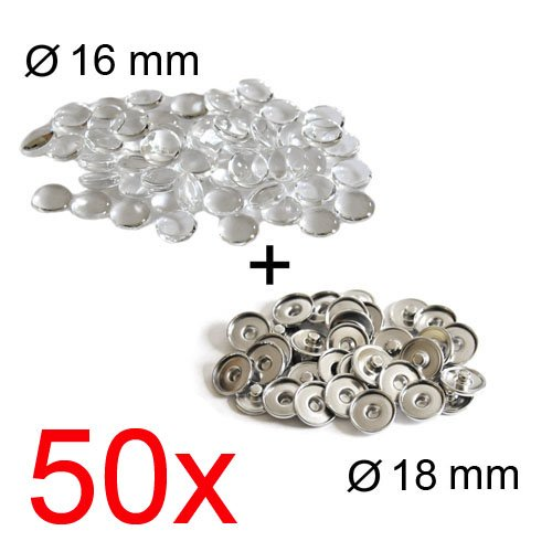 Click-Buttons DIY: Set aus Basisteil + Glas-Cabochon für Standard-Buttons (18mm), 50 Stück
