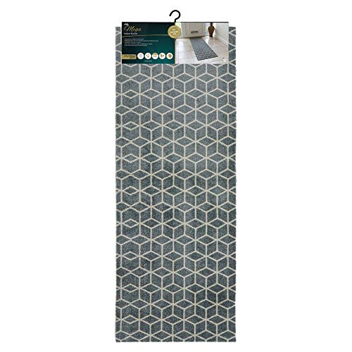 JVL Mega Highly Absorbent Machine Washable Runner Mat, 3D Cube Design, Grey, White, One Size