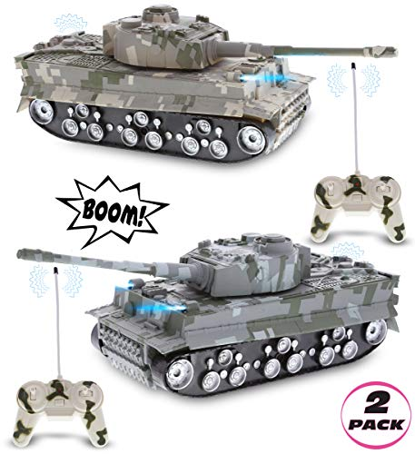 Mozlly Remote Control Tanks with Lights & Sound Effects Set - Military RC Car Toy with Rotating Turret and Battle Sounds, Cool Kids Gift of Realistic RC Tank for Indoor & Outdoor Pretend Play - 2 Pack