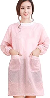 Cngstar Long Sleeves Kitchen Apron Waterproof Apron Anti Dress Waterproof Oil Proof Cook Aprons with Pockets (Pink)