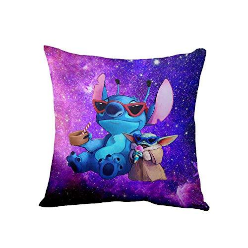 Baby Yoda&Stitch Funda de almohada Funda de cojín Estampado de poliéster suave Cuadrado Decorativo Fundas de almohada para regalos Cama Sofá Decoración para el hogar Regalo (18 '' x 18 '')