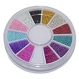 Nuevo 1 Caja 12 colores Rueda Herramientas de Arte de uñas Diseño de Color caramelo mágico Caviar Perlas Manicura Microperlas Decoraciones-predeterminado