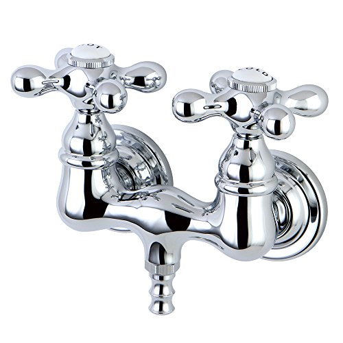 Kingston Brass CC38T1 Vintage Leg Tub Filler, Metal Cross Handle, Polished Chrome,3-3/8-Inch Center