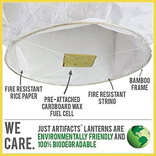 Just Artifacts 40 ECO Wire-Free Flying Chinese Sky Lanterns (Set of 40, Wire-Free Eclipse, Yellow) - 100% Biodegradable, Environmentally Friendly Lanterns!