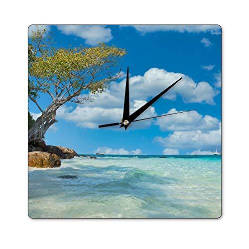 Promini Reloj de pared cuadrado Tailandia bambú playa playa bambú azul naturaleza color 169 silencioso reloj de pared personalizado reloj decorativo 30 x 30 cm
