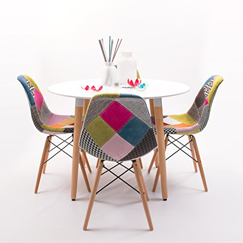 Homely - Conjunto de Comedor Tower Patchwork con Mesa lacada Blanca y 4 sillas, de Estilo nordico-Vintage - Redonda 100 cm