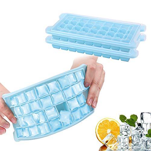 Eiswürfelform,【2 Stück】 Pomisty 36-Fach Silikon Eiswuerfel Form Eiswuerfelbehaelter Mit Deckel Ice Tray Ice Cube, LFGB Zertifiziert,BPA Free (Blau)