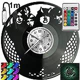 Rock Band RGB LED Pilot Reloj de pared para mando a distancia, disco de vinilo moderno decorativo para regalo de cumpleaños