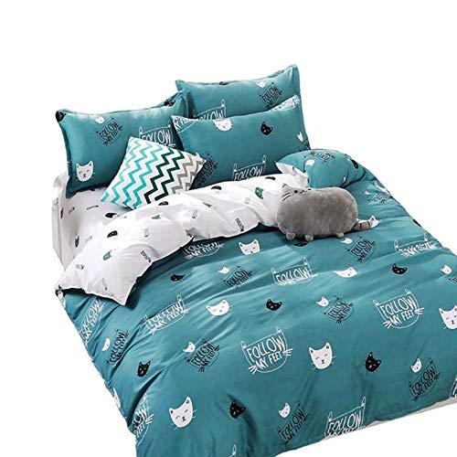DYXYH Home Textil Cyan Nette Katzen Bettwäsche Deckel Kissenbezug Bett Blatt Jungen Kind Teen Mädchen Bettwäsche Bettwäsche Set (Color : Blue, Size : 2.0m)