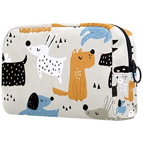 Bolsa de maquillaje personalizada para brochas de maquillaje portátil para mujer, bolso de mano, organizador de viaje infantil con perros dibujados a mano