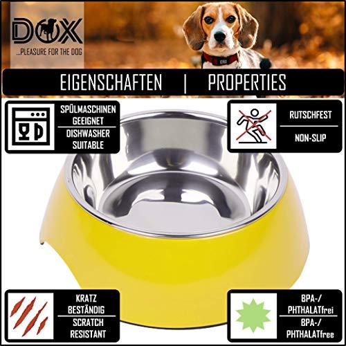 Fressnapf, Melamin-Napf 160 ml, 350 ml, 700 ml verschiedene Farben: Melamin-Napf, Edelstahl-Napf, Futternapf, robust, spuelmaschinenfest, stoss- und kratzfest, rutschfest, Edelstahlnapf herausnehmbar fuer Welpen, Hunde, Katzen by DDOXX Farbe Gelb, Größe 160 ml - 5