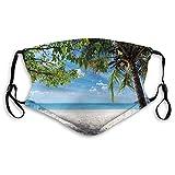 Moda 3D Face_ ma-s-k_ Proteger Impreso protección de cara y boca Playa Tropical Océano Detrás de Palmera Caribe Exótico Vacaciones Imagen m