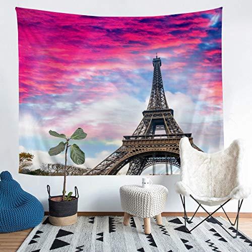 Manta de pared para niñas con diseño de la Torre Eiffel para niños y mujeres, diseño de París, bordado de París, decoración de habitación extragrande de 152 x 244 cm