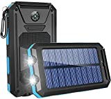 GRDE Solar Charger,10000mAh Solar Power Bank Portable External Backup Battery Pack Dual USB Solar Phone Charger with 2LED Light Carabiner and Compass for iPhone Series, Smartphones(Blue)