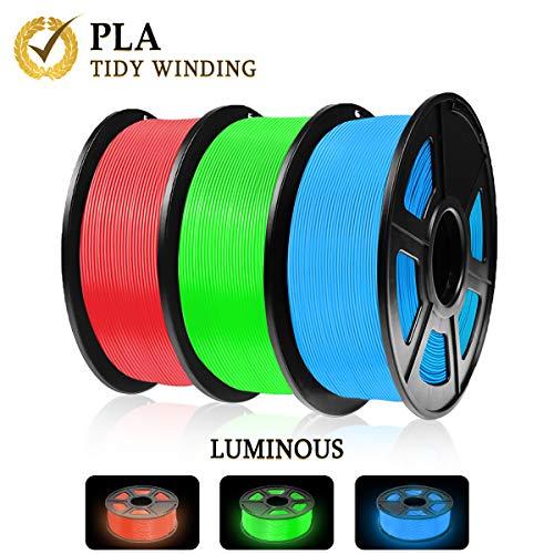 Luminoso filamento de PLA que brilla en la oscuridad, 3 kg, enrollado ordenado actualizado, sin enredos, rojo, azul y verde