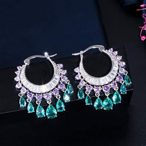 GBKIGCD 1 par de pendientes claros totalmente joya, pendientes románticos, pendientes de aro y joyería de moda simple (color metálico: colorido)