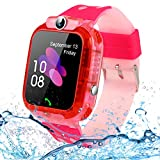 SZBXD Kids Waterproof Smart Watch Phone, LBS/GPS Tracker Touchscreen Smartwatch Games SOS Alarm Clock Camera Smart Watch Christmas Birthday Gifts for School Boy Girls (Light Pink)
