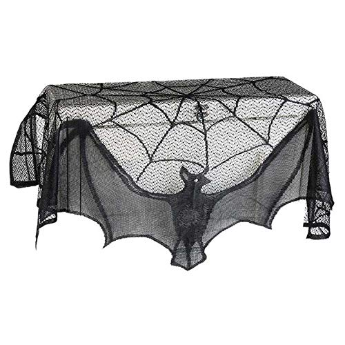 RICA-J Halloween Bat Decorative Tablecloth, Black Lace Spider Nets Window Curtain, Black Lace Bat Halloween Props Party Scary Indoor Decorations Window Curtains