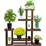 YAHEETECH Tiered Wood Plant Flower Stand Shelf Planter Pots Shelves Rack Holder Display for Multiple Plants Indoor Outdoor Garden Patio 38.2 x 37.8 x 9.8in