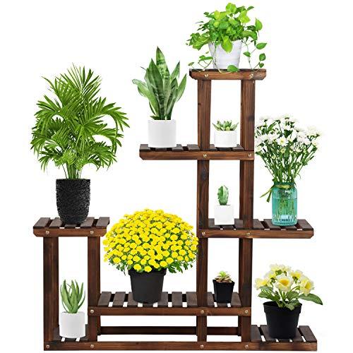 Yaheetech Supports de Pots de Fleurs en Bois de Sapin Porte Pots de Plante 7 Étagère à Fleurs Décorative pour Maison Balcon Terrasse Interieur Exterieur 97 x 25 x 96 cm