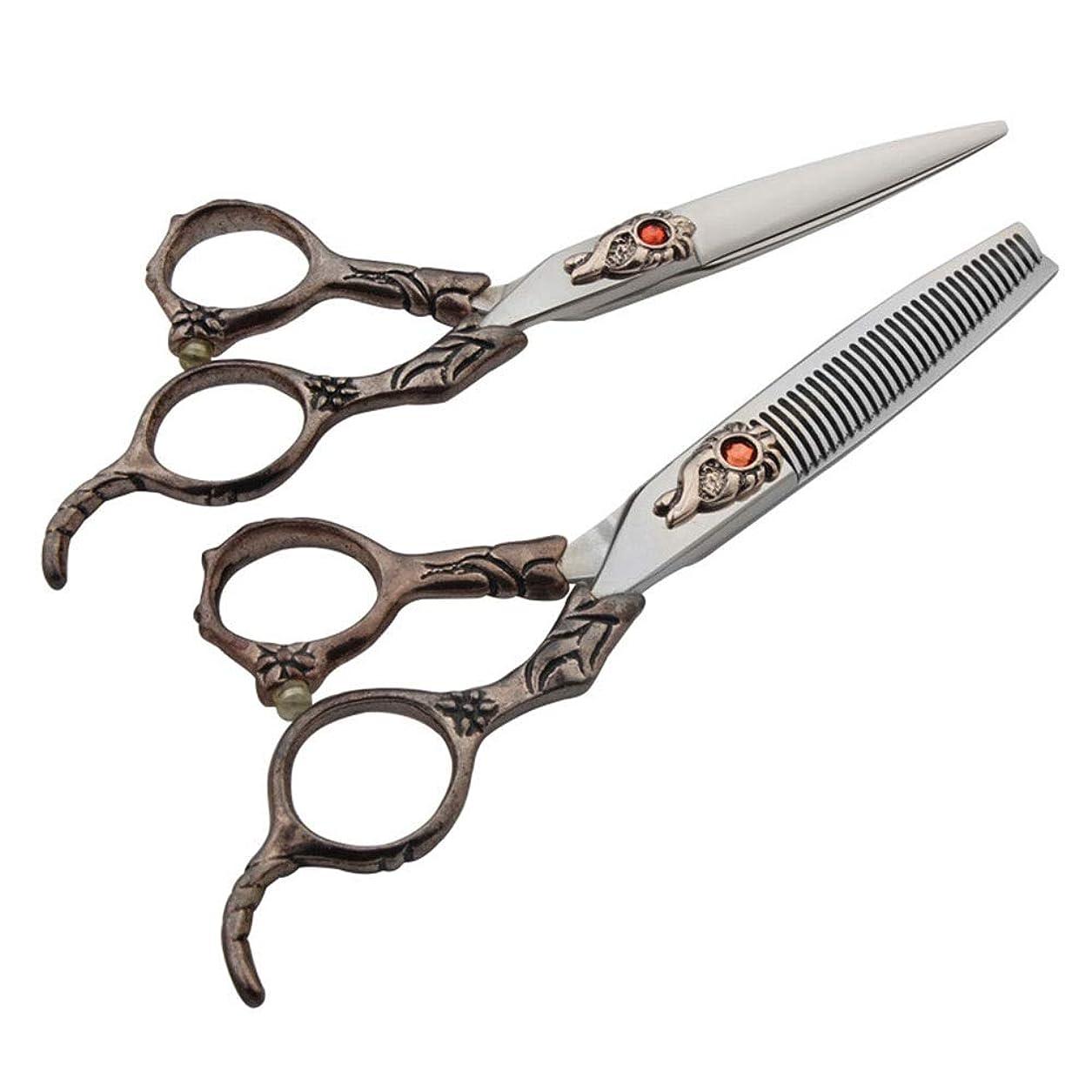 見る強化水っぽい6インチの美容院の専門の理髪セット、平らなせん断+歯のせん断の専門セット モデリングツール (色 : レッド)