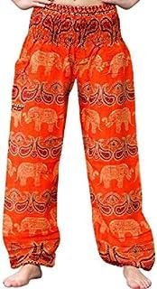 Bohotusk Pantalones Harem bohemios para niños con cintura elástica fruncida estilo hippie bohemio | Pantalones para niños ...