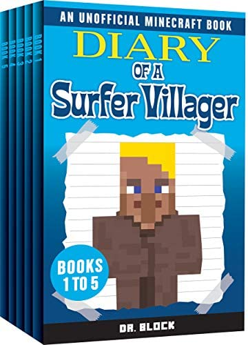 Diary of a Surfer Villager Books 1 5 a collection of unofficial Minecraft books Complete Diary product image