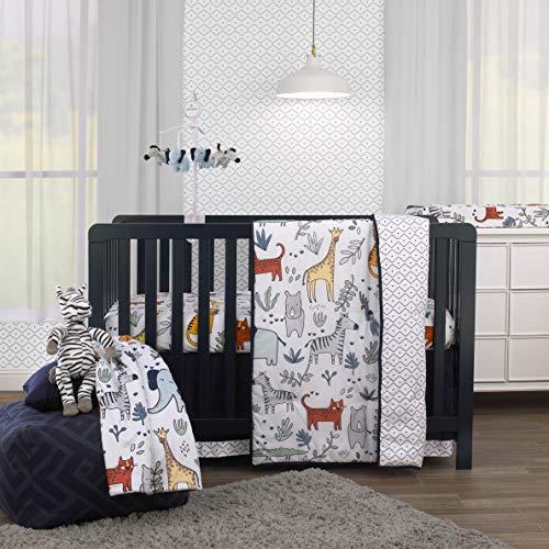 Carter's Safari Party - 4Piece Nursery Crib Bedding Set - Comforter, Fitted Sheet, Dust Ruffle & Plush Baby Blanket, Grey, Blue, Green, Orange