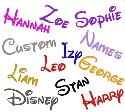 2 x Personalised Disney 130mm long Font Name sticker glass display laptop home car vinyl decal sticker window bumper