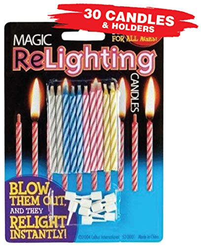 Magic Relighting Birthday Candles (30 Candles Per Package)
