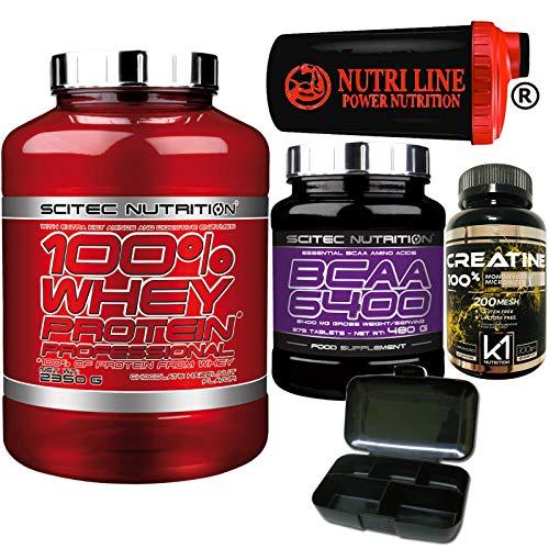 Scitec Nutrition 100% Whey Protein Professional 2350gr Proteine Siero del Latte + 375 BCAA 6400 Aminoacidi Ramificati + 100g Creatina Monoidrato Polvere +Shaker e Portapillole(CIOCCOLATO E NOCCIOLA)