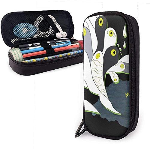 Zwarte kat en vis schattige pen potlood Case lederen tas etui etui met dubbele rits houder doos voor meisjes jongens volwassenen