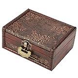 Hztyyier Caja de Almacenamiento de Madera Vintage Antiguo Organizador de Almacenamiento Decorativo Antiguo Organizador de Joyas Treasure Box con Cerradura de Metal para Regalos de Mujer