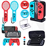 Zadii Accessories Bundle Compatible with Nintendo Switch, Accessories Kit with Tennis Racket, Steering