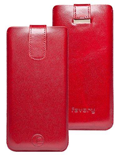 Original Favory Etui Tasche für / Primo 215 by Doro / Leder Etui Handytasche Ledertasche Schutzhülle Hülle Hülle Lasche *mit Rückzugfunktion* Rot