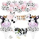 Suministros de Fiesta de cumpleaños de Vaca Decoraciones de Fiesta de Animales de Granja de Color Rosa para niñas, Globos Garland Arch Kit, Globos de Papel de Vaca para Caminar
