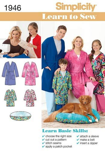 Simplicity 1946 Learn to Sew Child's, Teen's and Adult's Robe Sewing Pattern, Youth Sizes XS-L and Adult Sizes XS-XL