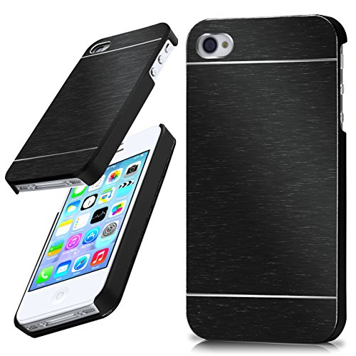 MoEx iPhone 4S | Hülle Dünn Schwarz Aluminium Back-Cover Schutz Handytasche Ultra-Slim Handy-Hülle für iPhone 4/4S Case Metall Schutzhülle Alu Hard-Case