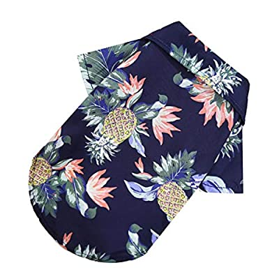 Xuanshengjia Pet Hawaiian Shirt, Fashionable Breathable Dog Summer T-Shirt, Retro Seaside Resort Style Pineapple Printed Pet Clothes, Puppy Clothing For Small Medium Dogs Cats