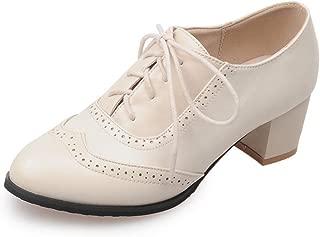 SaraIris Women's Wingtip Vintage Brogue Shoes PU Leather Block Heel Lace up Ladies Dress Oxford Shoes