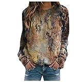 WANGTIANXUE Camiseta de manga larga para mujer, elegante, parte superior estampada, sudaderas para otoño, estilo abstracto, de manga larga, térmica, cuello redondo, amarillo, XXXL