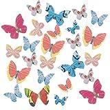 NATEE Lot de 42 Papillon Comestibles en Papier de Riz Gluant Comestibles, Décoration de Gâteaux d'Anniversaire, Comestible Papillon Cupcake Toppers Riz Papier Gâteau Topper