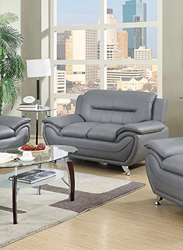 7 star Max sofa 3 Seater or 2 Seater in Black and Grey Faux Leather with Chrome silver legs (Gray, 2 Seater)