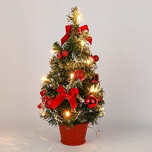 WSKL Árbol de Navidad Decoración de Luz nocturna Árbol de Pino ligero Mini árbol de Navidad Decoración de Navidad Regalo de año 15/20/30/40 CM Mesa LED, Luz Roja 40 cm