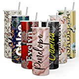 Personalized Skinny Tumbler with Lid and Steel Straw - 20 oz - Double Wall Stainless Steel -15 Designs | Custom Travel Coffee Mug, Tumbler Cup | Personalized Gifts for Women, Bridesmaid, Tumbler Cups