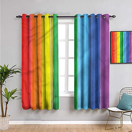 Xlcsomf Cortina de armario arco iris, cortinas de 160 cm de largo, diseño moderno de bandera de arte para reducir la luz de 52 x 63 pulgadas