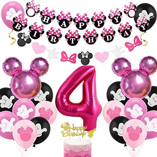 Decoración de cumpleaños de Minnie para niñas, número 4, color rojo rosa y rojo
