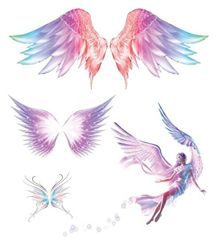 SanerLian Waterproof Temporary Safety and trust Fake Tattoo Pink Stickers Indefinitely Angel W