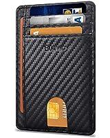 Buffway Slim Minimalist Front Pocket RFID Blocking Leather Wallets for Men Women - Carbon Fiber Black